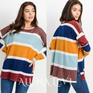 Multi Striped Colorblock Top - Navy Combo